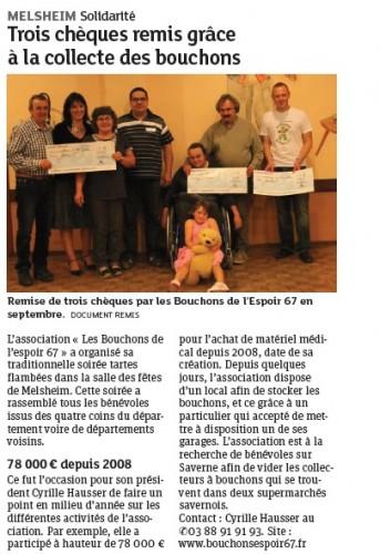 20131017 Trois chèques remis grâce à la collecte des bouchons - Melsheim