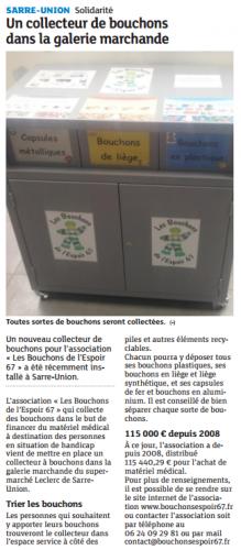 20150204 Un collecte de bouchons dans la galerie marchande - Sarre-Union