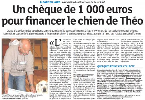 20151008 Un chèque de 1000 euros pour financer le chien de Théo-Alsace du Nord