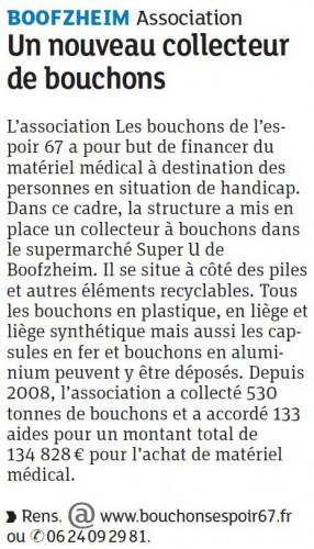 26.05.2016 Un nouveau collecteur de bouchons - Boofzheim